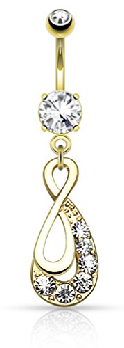 Infinity Drop with Paved Gems Belly Button Ring 316L Surgical Steel, 14g Navel Ring (14kt Gold Plated)