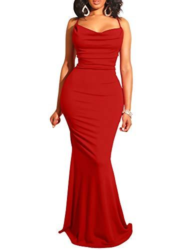 - GOBLES Women Sexy Spaghetti Strap Bodycon Halter Mermaid Evening Maxi Dress Red