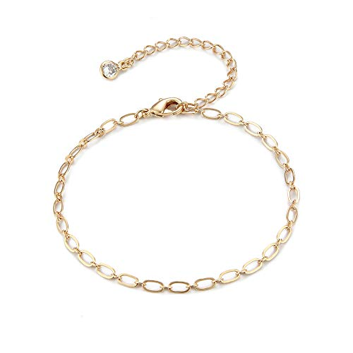 Gold Chain Bracelet,14K Gold Plated Dainty Oval Link Chain Bracelets