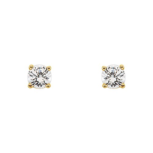 3mm White Sapphire Youth Threaded Post Earrings in 14k Yellow Gold by The Black Bow
