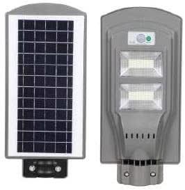 Farola Solar LED con Detector de Movimiento y Sensor Crepuscular, Energía Limpia, Potencia 40W, Distancia de detección 8-12 m, Ángulo de detección 120°, Color Plata
