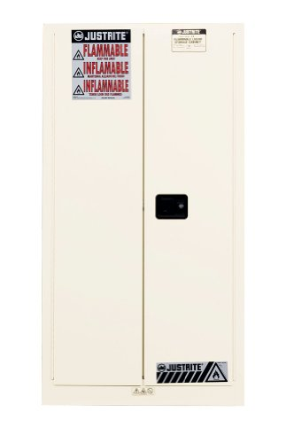 Justrite 896005 Sure-Grip EX Double Walled Steel 2 Door Manual Flammables Safety Cabinet, 60 Gallon Capacity, 34'' Width x 65'' Height x 34'' Depth, 2 Shelves, White by Justrite