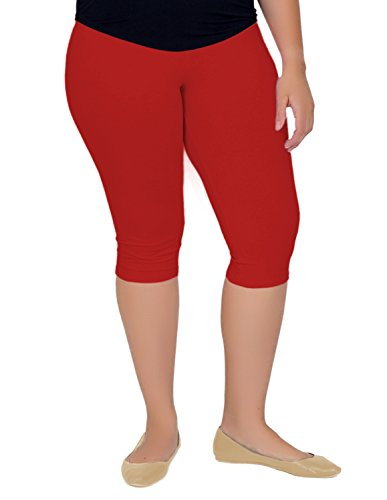 Stretch is Comfort Women's Knee-Length Leggings Red 3X ()