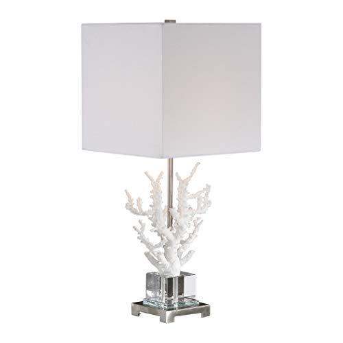 My Swanky Home Elegant White Branch Coral Crystal Coastal Table Lamp | Organic Sculpture Luxe ()