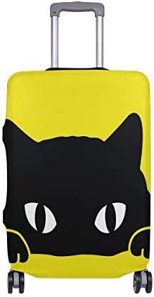 (ソレソレ)スーツケースカバー 防水 伸縮素材 キャリーカバー ラゲッジカバー 黒猫 ねこ 猫柄 イエロー 黄色い 可愛い かわいい 可愛い おしゃれ 防塵 旅行 出張 便利 S M L XLサイズ