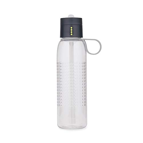 Joseph Joseph Dot Active Hydration-Tracking Bottle with Carry Loop and Straw Counts Water Intake On Lid, 25 oz, Gray