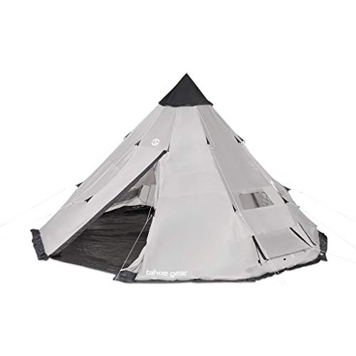 Tahoe Gear Bighorn XL 18′ x 18′ 12 Person Teepee Cone Shape Camping Tent