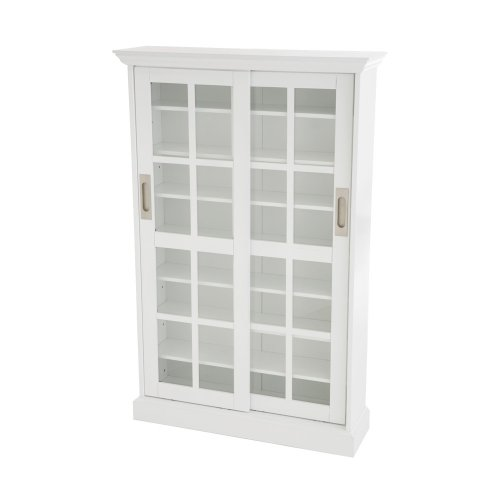 Sliding Door Media Cabinet - Holds 165 DVDs or 536 CDs - White Finish ()