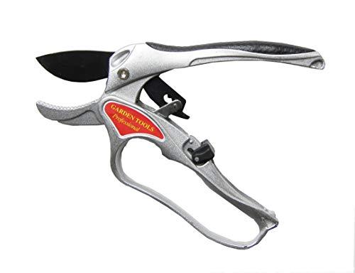 Ratchet Hand Pruner 8 Inch - Aluminium Anvil Pruning Shears - Gardening Tools - Ergonomic handle with Soft Grip - Teflon Coated Cutting Blade ()