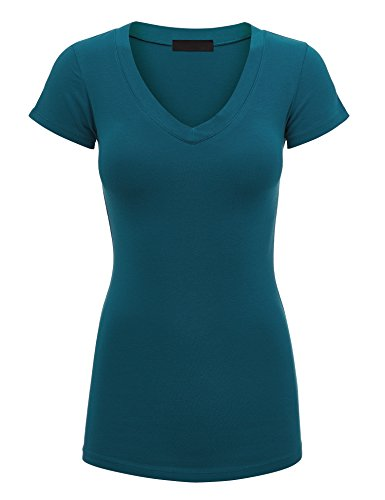 Lock and Love WT1606 Womens Basic Fitted Short Sleeve V-Neck T Shirt L Teal
