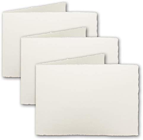 25x DIN A6 Vintage Falt-Karten, echtes Bütten-Papier, 105 x 148 mm - quer-doppelt, Natur-Weiß 240 g/m² - Vellum Oberfläche - Original Zerkall-Bütten