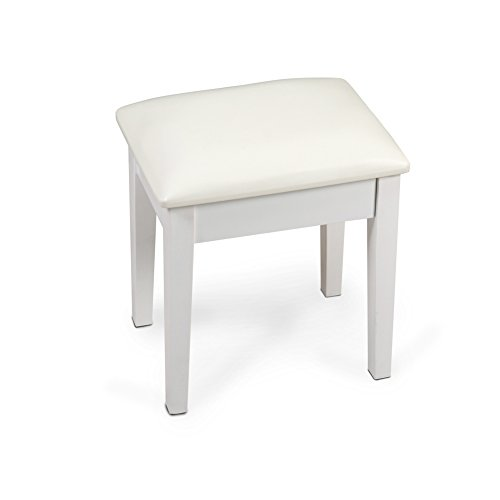 Organizedlife White Wooden Stool for Dressing Vanity Table by Organizedlife