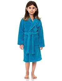 TowelSelections Big Girls' Robe, Kids Plush Shawl Fleece Bathrobe Size 10 Cyan Blue