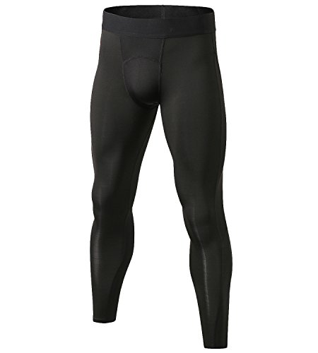 Lavento Men's Compression Pants Mesh Cool Dry Workout Tights (1 Pack-1040 Black, Medium)
