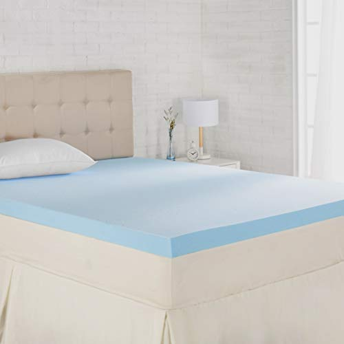 AmazonBasics Cooling Gel-Infused Memory Foam Mattress Topper - Ventilated for Airflow