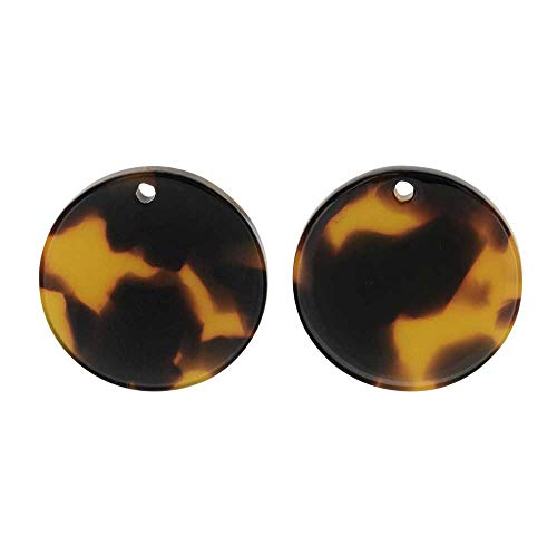 (Zola Elements Acetate Pendant, Coin 20mm, 2 Pieces, Brown Tortoise Shell)