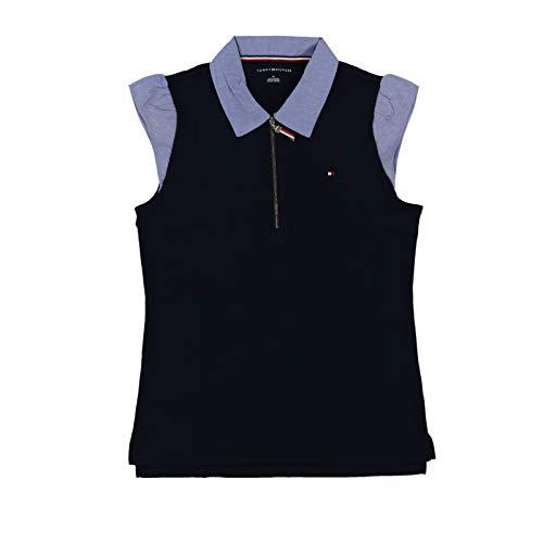 (Tommy Hilfiger Womens Zip Front Polo Shirt (Medium, Navy Blue))