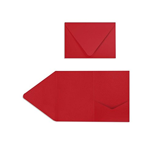 Red Pocket Invitation - A7 Pocket Invitations (5 x 7) - Ruby Red (60 Qty.)