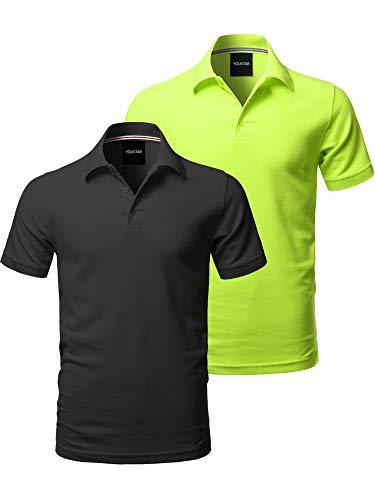 Solid Short Sleeves Premium Quality Side Slit Polo Shirt Black/Neon Yellow XL (Best Quality Polo Shirts)
