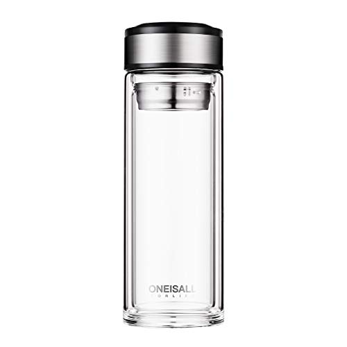 oneisall 500 Milliliter Double Wall Glass Tea Tumbler With Strainer For Loose Leaf ,Insulated Travel Coffee Mug,Glass Tea Cup Bottle,QGYBL110 (Silver)