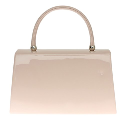 Girly HandBags New PINK NUDE Nude Patent Clutch Bag Handbag Small Hard Case Designer Celeb - more-bags