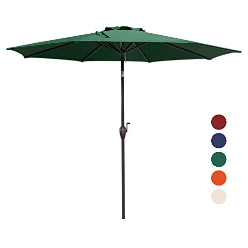 KINGYES 9Ft Patio Table Umbrella Outdoor Umbrella with Push Button Tilt and Crank for Commercial Event Market, Garden, Deck,Backyard Swimming and Pool (Dark Green)