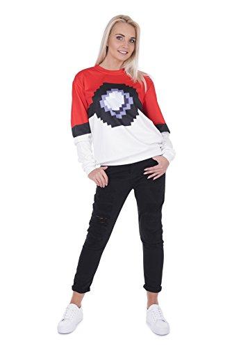 Suéter De Las Mujeres Niñas Estilo De La Vendimia Ocasional Manga Larga Full Print Pokeball [038]