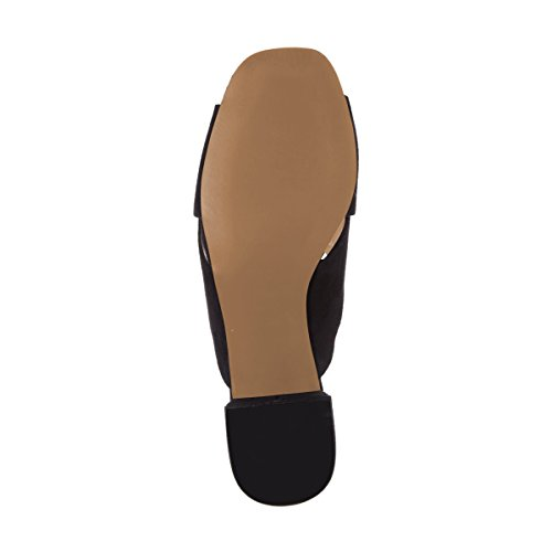 Black Casual Faux Shoes Toe Us Sandals Open 15 Low Fsj Women Heels Chunky Size Mules Suede Comfortable 4 xTw1n