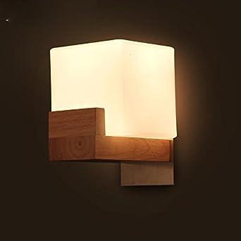 Dngy* Applique Murale Lampe Chambre Lit Moderne En Bois Massif Bois Mur  Murale (H