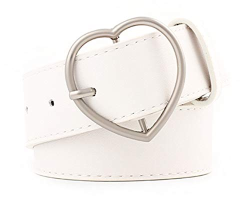 Women Fashion PU Leather Dress & Jeans Waist Belt for Girls and Ladies Heart Buckle (White)