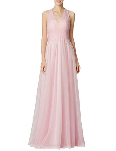 (Bridesmaid Dresses Long Halter Evening Gowns Wedding Party Prom Dress Maxi Tulle V-Neck Pleating Pink US16W)