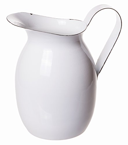 Red Co. Decorative Agate Metal Water Pitcher, Vintage Flower Vase Centerpiece, White, Small, 7-inch