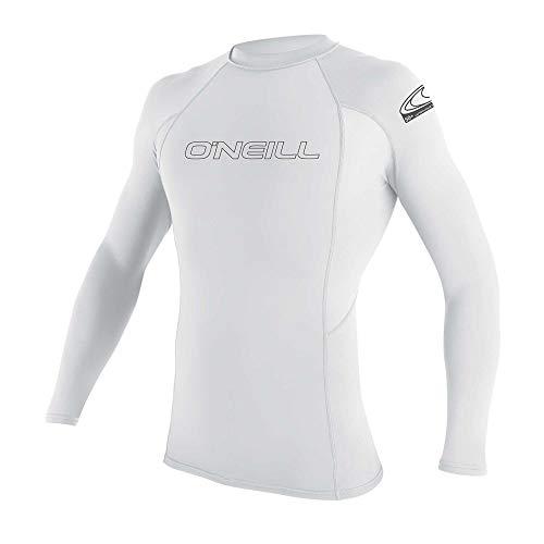 O'Neill Men's Basic Skins UPF 50+ Long Sleeve Rash Guard, White, - Guard Rash Mens
