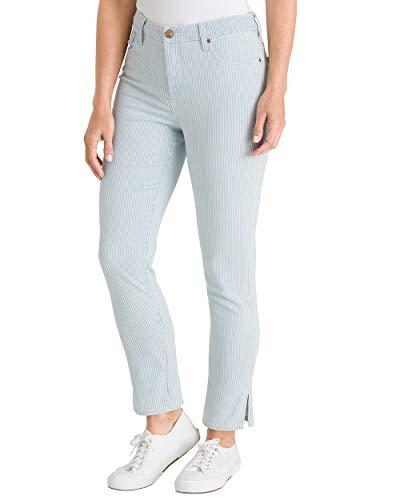 (Chico's Women's So Slimming Striped Side-Slit Hem Girlfriend Ankle Jeans Size 0/2 XS (00 REG) Stripe White/Blue)