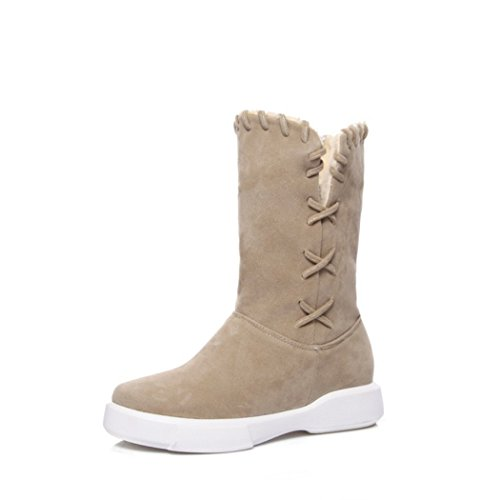 Head color of Round ZQ flat base and female thick QXAutumn Apricot boots large wind and wild College Winter short numbers ZHqw1xIqfg