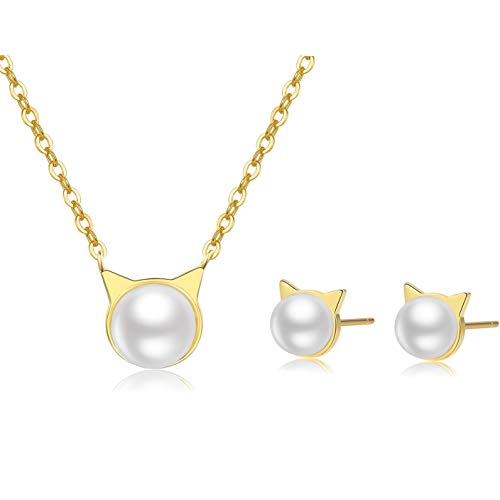 Set Lovely Pearl (Cat Jewelry Set [Lovely Pearl] - Stud Earring Set (1) and Necklace (1) - Gift to Kitty Lovers, Cat Moms, Women, Teens, Girls [Gold])