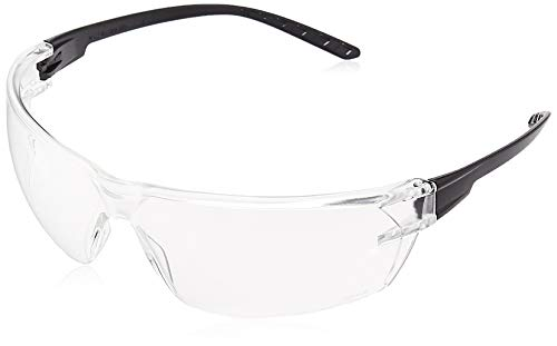 AmazonCommercial Double Lens Safety Glasses (Clear/Black), Anti-scratch, 12-pack
