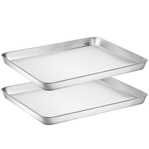 Wildone Baking Sheet Set of 2 – Stainless Steel Cookie Sheet Baking Pan, Size 16 x 12 x 1 inch, Non Toxic & Heavy Duty…