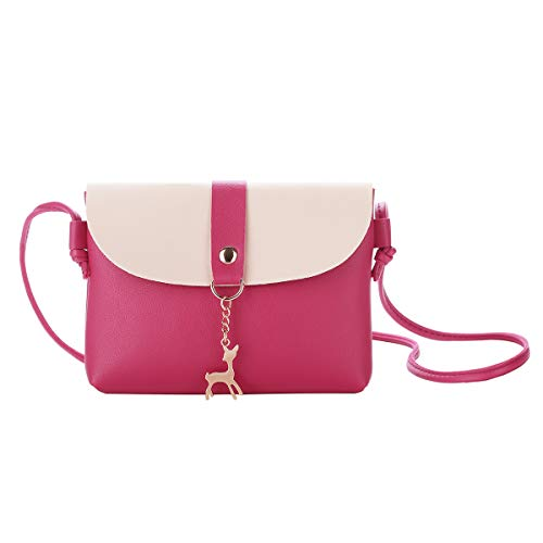 Small Crossbody Purse for Women With Pendant,PU Leather Crossbody Bag With Strap Cell Phone Bag for Girl,Rose Red