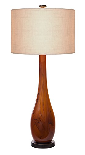 Thumprints 1114-C11-2081 Burlwood Table Lamp, Dark Amber/Oil Rubbed Bronze Finish