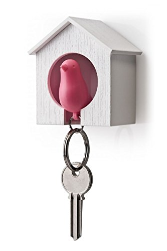 (AKOAK White Mini Birdhouse and Pink Bird Keychain,Bird is a Safety Whistle)