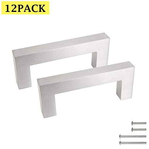 3'' Hole Centers Cabinet Hardware Brushed Nickel Bar Pulls for Cabinets 12 Pack Modern Drawer Pulls Stainless Steel Square Bar Cabinet Pull Kitchen Pulls for Cabinets