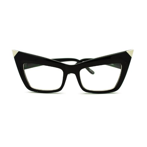 Runway Womens Metal Tip Rectangular Cat Eye Clear Lens Eye Glasses Black (Rectangular Cat)