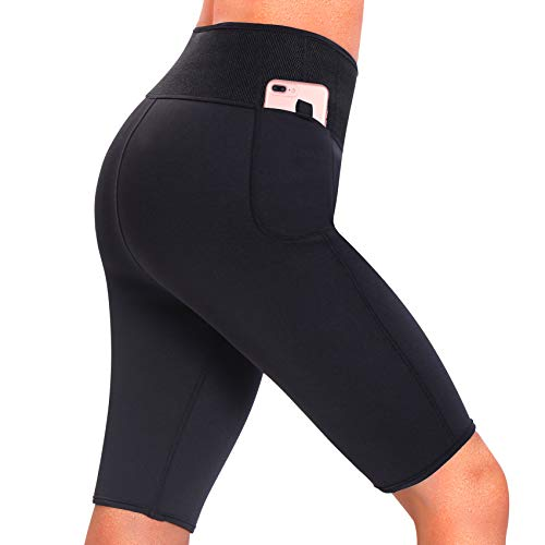 dece4777f9 Rolewpy Women Neoprene Sauna Slimming Shorts Pants Weight Loss Hot Thermo Sweat  Body Shaper Capri for Fat Burner Leggings (Shorts-Black, S(US 0-2))