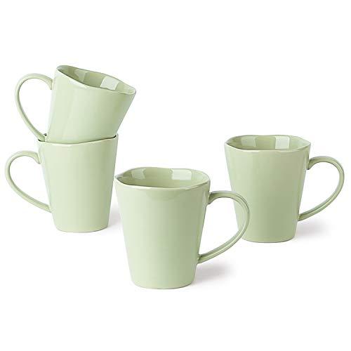 LE TAUCI Ceramic Coffee Mug set - 10 Ounce for Coffee, Tea, Cocoa, Milk, Set of 4, Mint Green