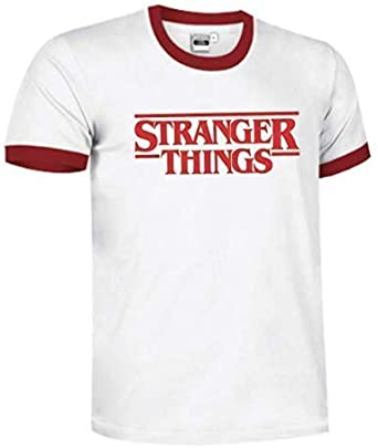 Camiseta Stranger Things Vinilo Textil Premium Unisex con Cuello Rojo: Amazon.es: Ropa y accesorios