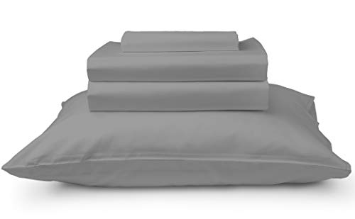 California Cotton Club, 600 Thread Count Bed Sheets Set, 100% Cotton, Hotel Quality Luxury Soft Fits Mattress Upto 17 inch Deep Pockets, 4 Piece Sheets and Pillowcases, (Queen Sheets, Dark Grey)