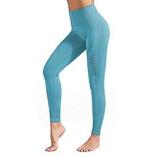 ulsfaar Energy Seamless Leggings Women High Waisted Yoga Sports Workout Gym Running Tights (1-Blue, S)