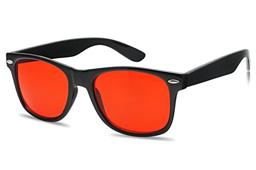SunglassUP Colorful Classic 80's Vintage Pantone Lens Wayfarer Sunglasses (Black, Red) (Red Mens Sunglasses)