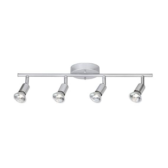Globe Electric 58932 Payton 4-Light Track Lighting, Matte Silver - MINIMALIST DESIGN: the straight line of the track bar pairs with the exposed socket construction and is finished off with a matte silver to complete the perfect minimalist design PIVOTING TRACK HEADS/VERSATILE PLACEMENT: four independently pivoting track heads direct and focus light where needed and can also be used to mount on the wall as a vanity or wall track light BULB REQUIREMENTS: 4x GU10/Bi-Pin Base MR16 Shape 50W Bulbs (sold separately) - kitchen-dining-room-decor, kitchen-dining-room, chandeliers-lighting - 31lSWZ9Jt2L. SS570  -
